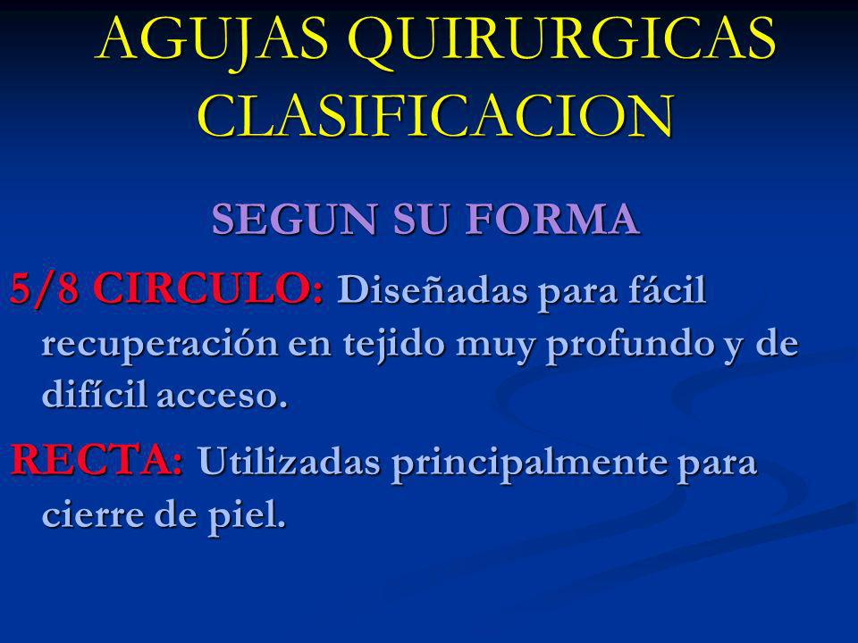 AGUJAS QUIRURGICAS CLASIFICACION