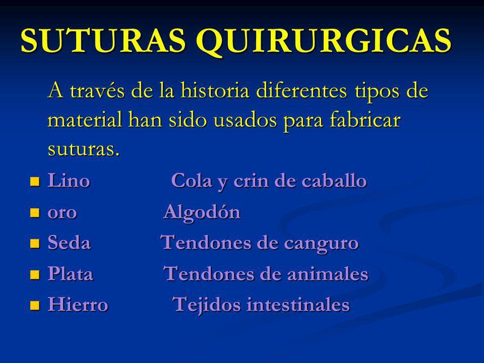 SUTURAS QUIRURGICAS A través de la historia diferentes tipos de material han sido usados para fabricar suturas.