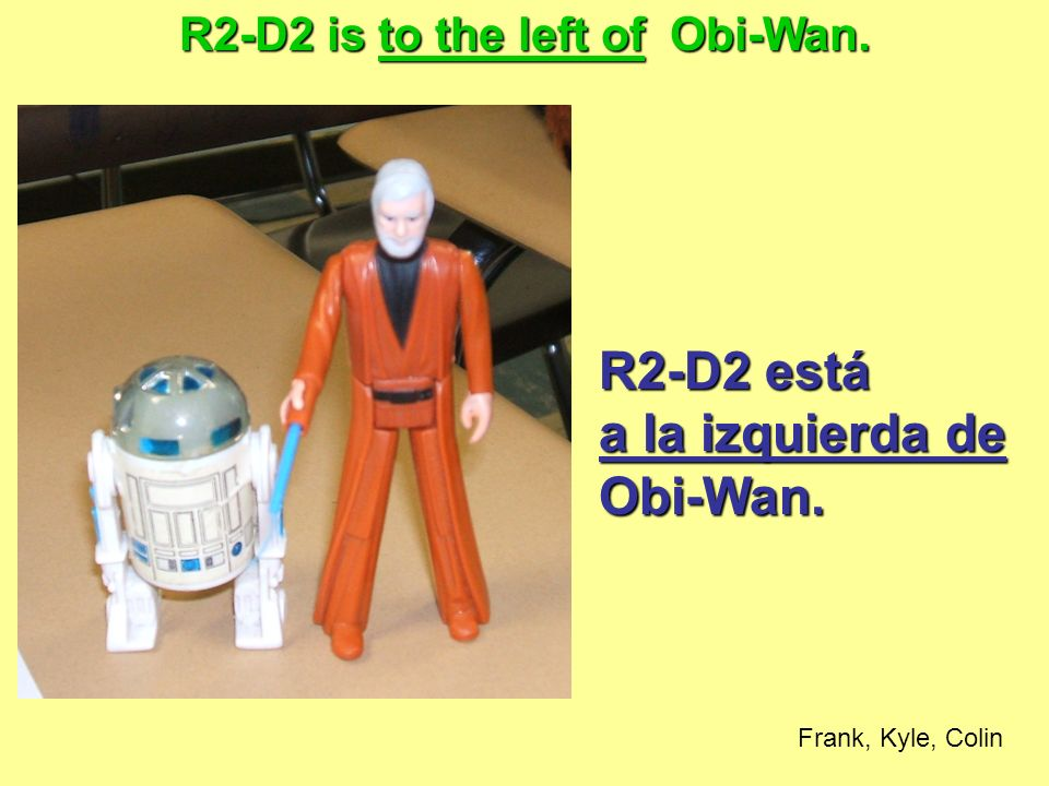 R2-D2 is to the left of Obi-Wan.