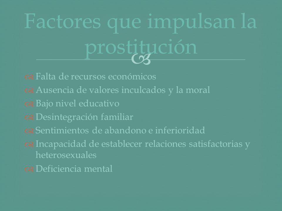 Factores que impulsan la prostitución
