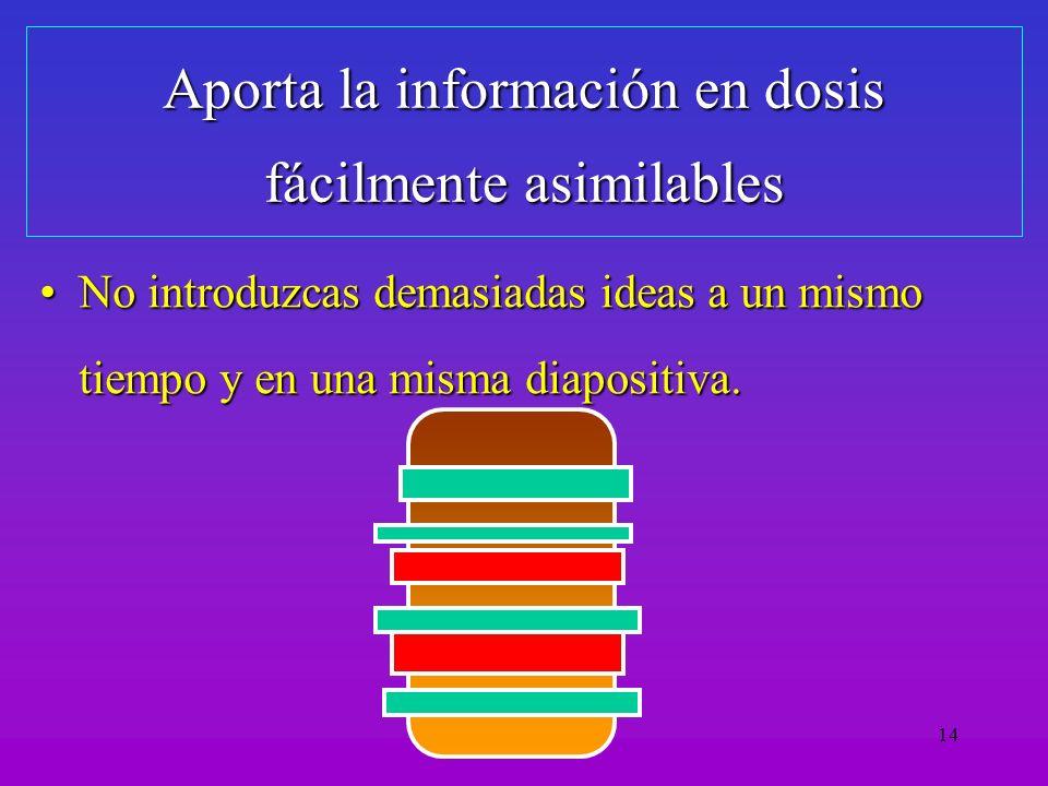 Aporta la información en dosis fácilmente asimilables