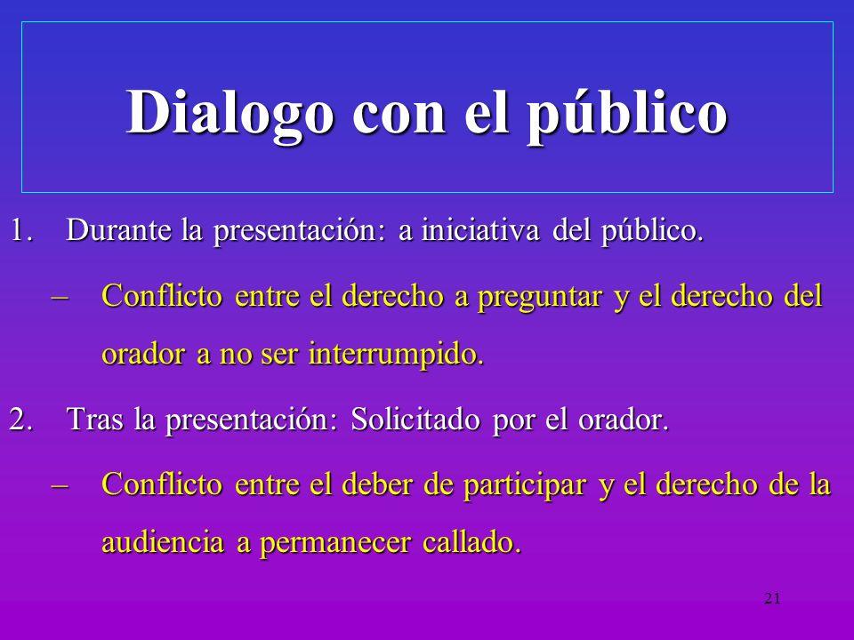 Dialogo con el público Durante la presentación: a iniciativa del público.