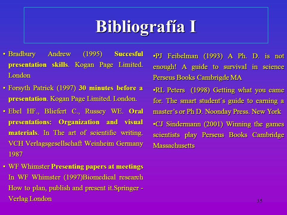 Bibliografía I Bradbury Andrew (1995) Succesful presentation skills. Kogan Page Limited. London.