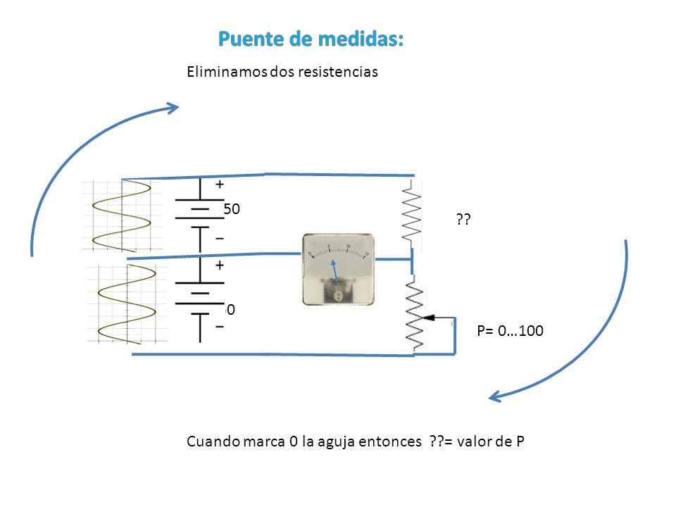 Puente de medidas: Eliminamos dos resistencias 50 50 P= 0…100