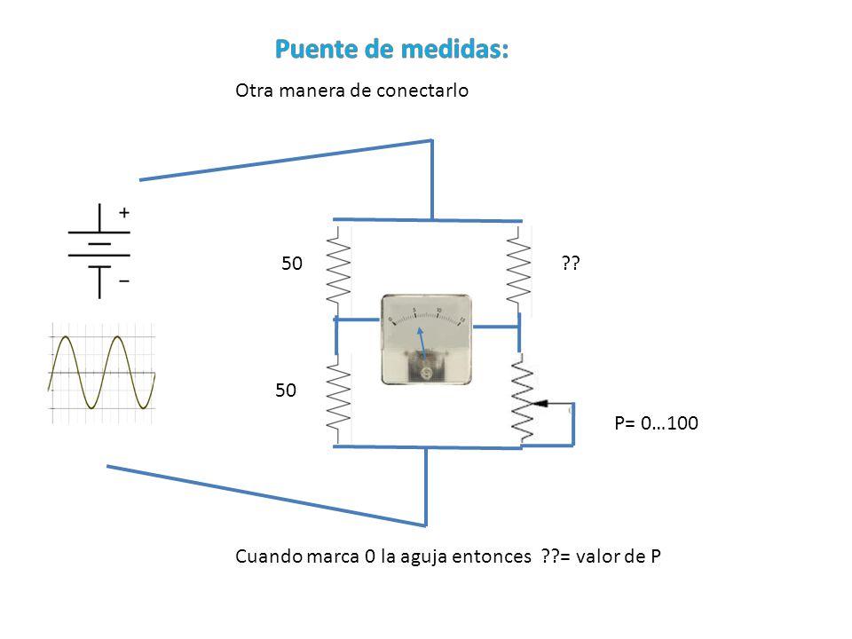 Puente de medidas: Otra manera de conectarlo 50 50 P= 0…100