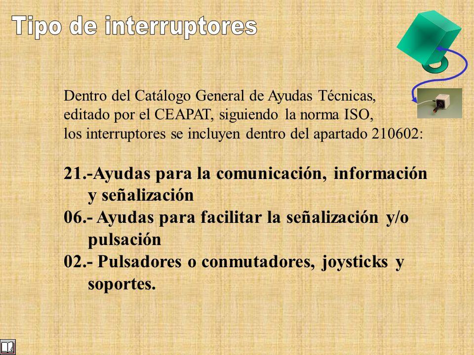 Tipo de interruptores Dentro del Catálogo General de Ayudas Técnicas, editado por el CEAPAT, siguiendo la norma ISO,