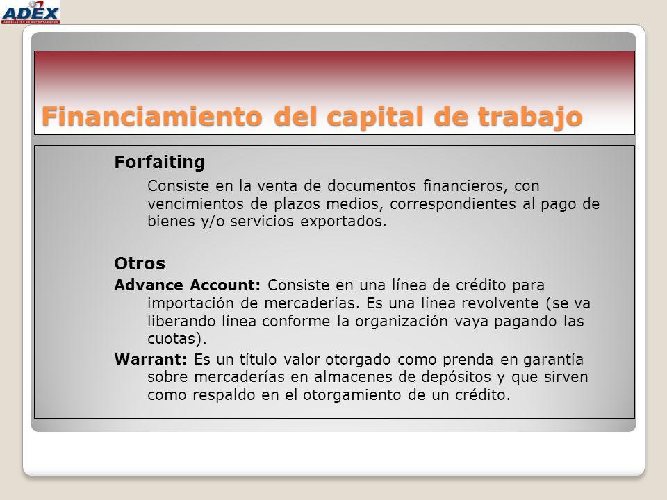Financiamiento del capital de trabajo