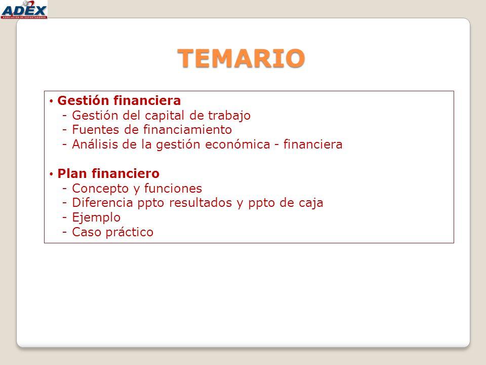 TEMARIO Gestión financiera - Gestión del capital de trabajo