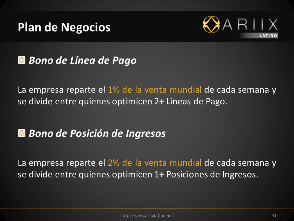 Plan de Negocios Bono de Línea de Pago Bono de Posición de Ingresos