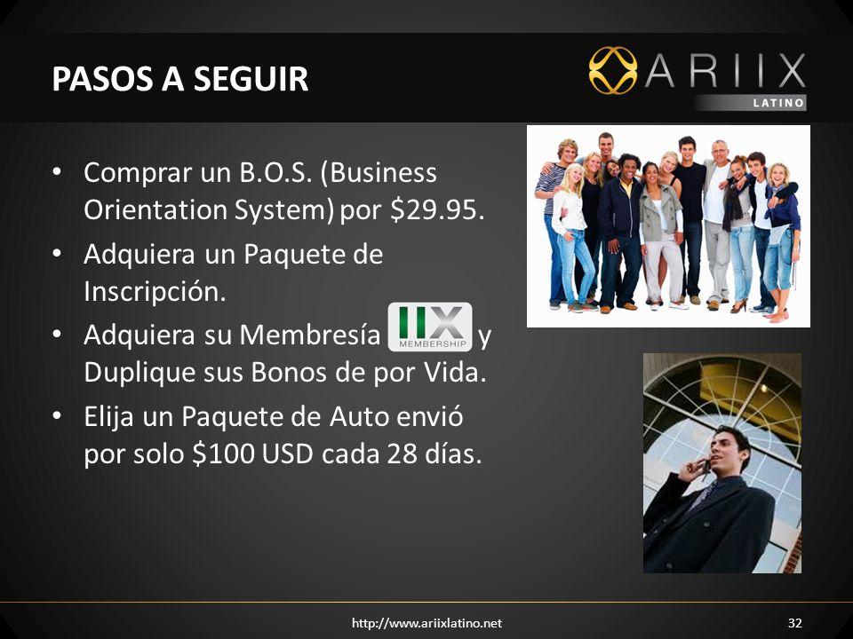 PASOS A SEGUIR Comprar un B.O.S. (Business Orientation System) por $29.95. Adquiera un Paquete de Inscripción.