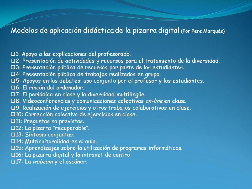 Modelos de aplicación didáctica de la pizarra digital (Por Pere Marqués)