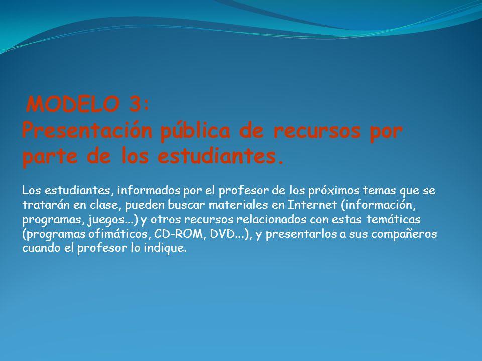 Presentación pública de recursos por parte de los estudiantes.
