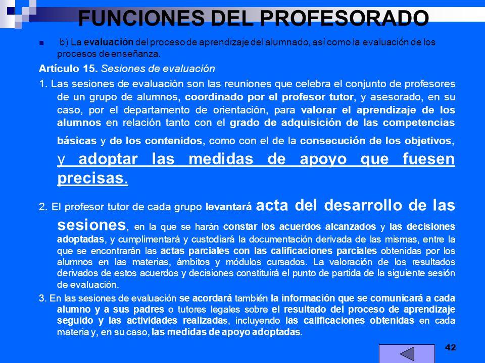 FUNCIONES DEL PROFESORADO