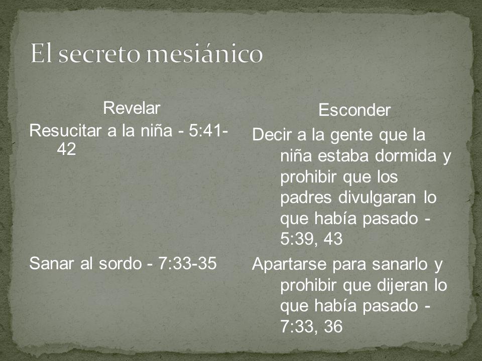 Revelar Resucitar a la niña - 5:41- 42 Sanar al sordo - 7:33-35