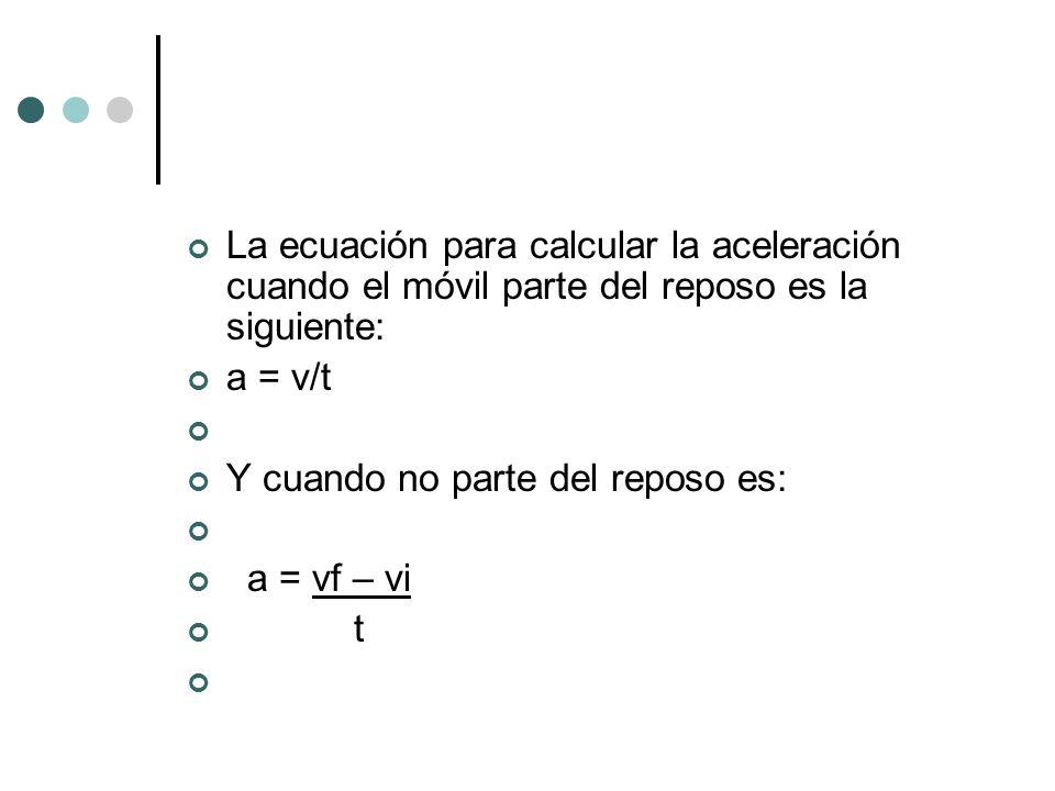 La ecuación para calcular la aceleración cuando el móvil parte del reposo es la siguiente: