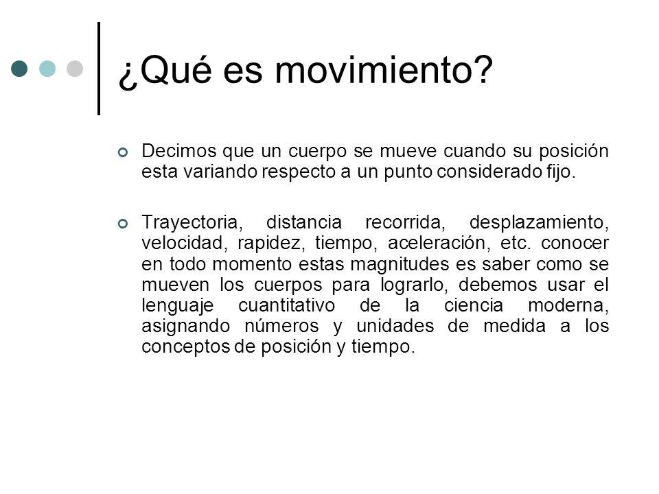 ¿Qué es movimiento Decimos que un cuerpo se mueve cuando su posición esta variando respecto a un punto considerado fijo.