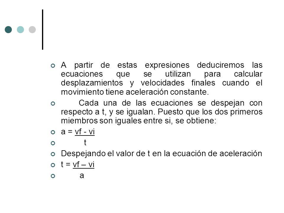 A partir de estas expresiones deduciremos las ecuaciones que se utilizan para calcular desplazamientos y velocidades finales cuando el movimiento tiene aceleración constante.