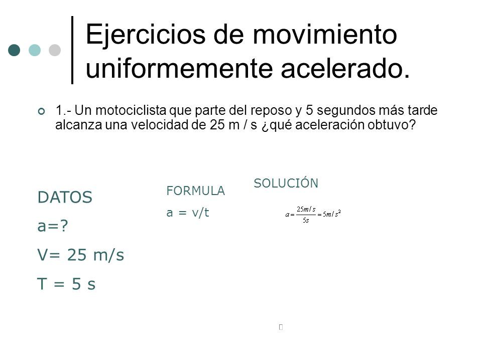 Ejercicios de movimiento uniformemente acelerado.