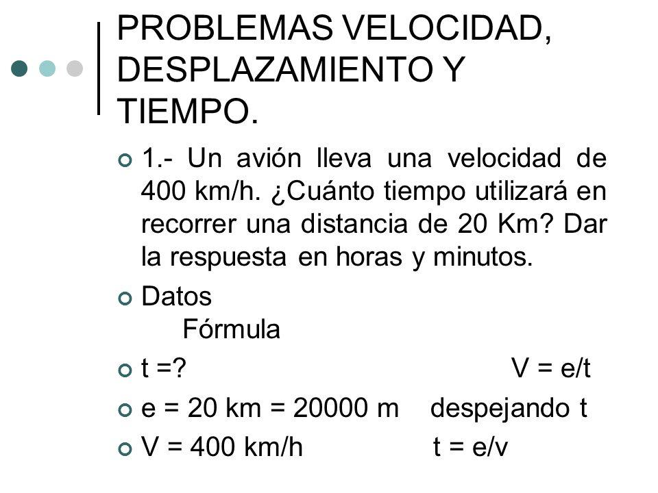 PROBLEMAS VELOCIDAD, DESPLAZAMIENTO Y TIEMPO.