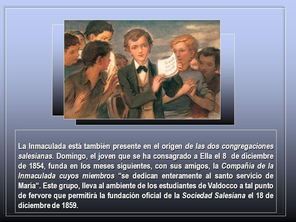 La Inmaculada está también presente en el origen de las dos congregaciones salesianas.