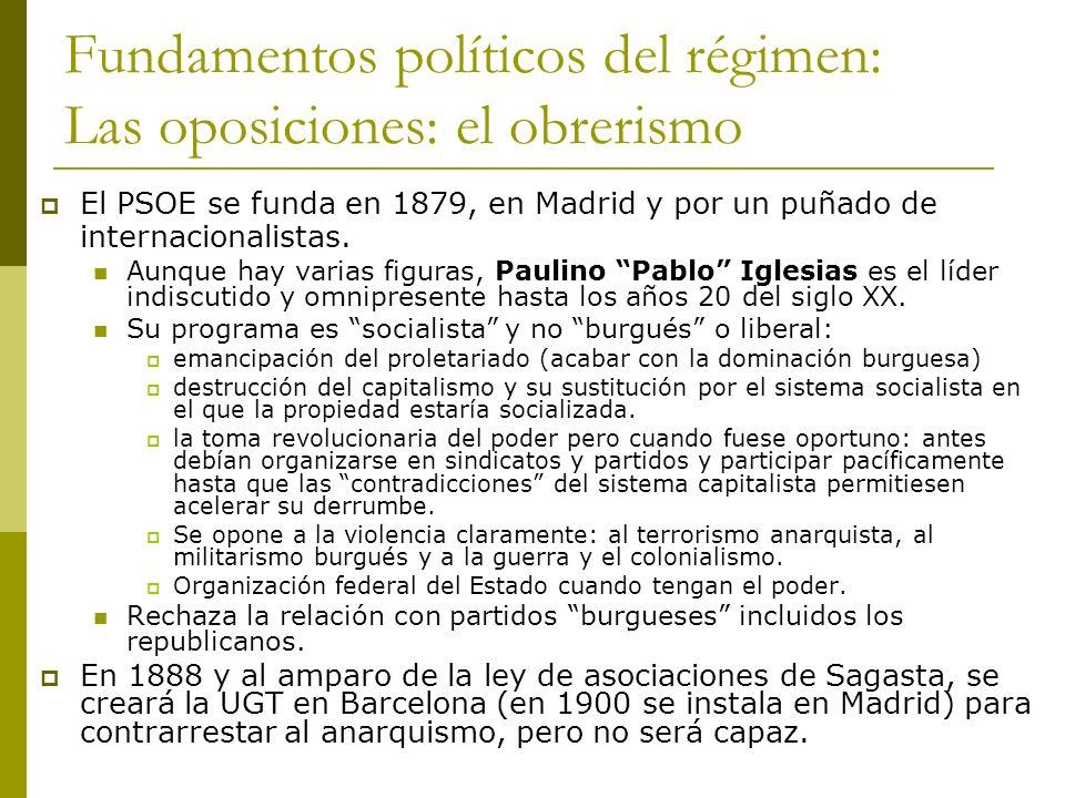 Fundamentos políticos del régimen: Las oposiciones: el obrerismo