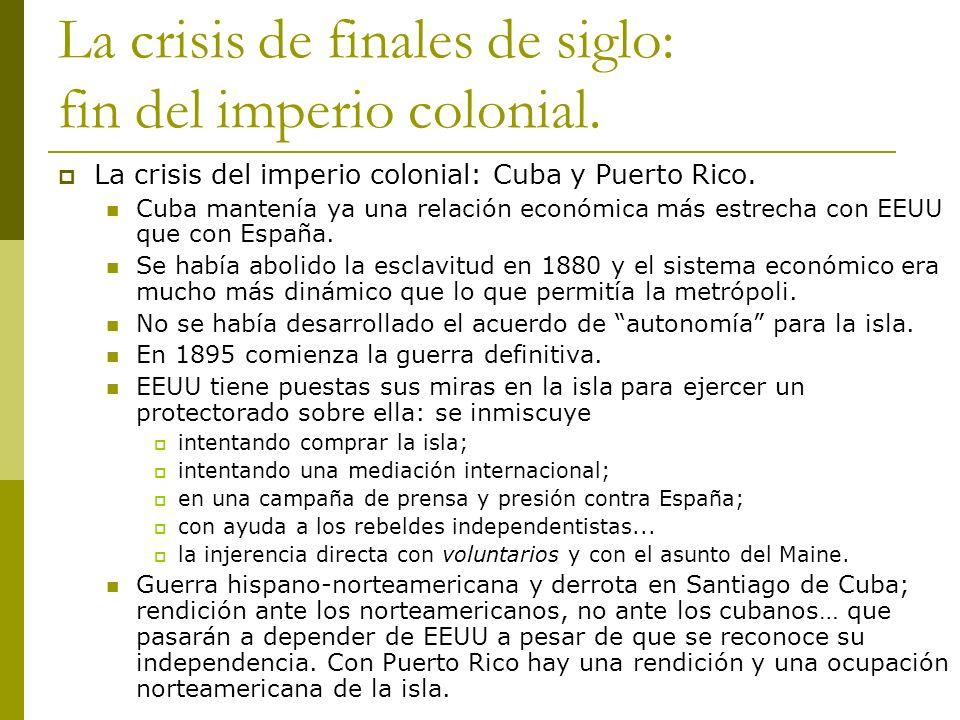 La crisis de finales de siglo: fin del imperio colonial.
