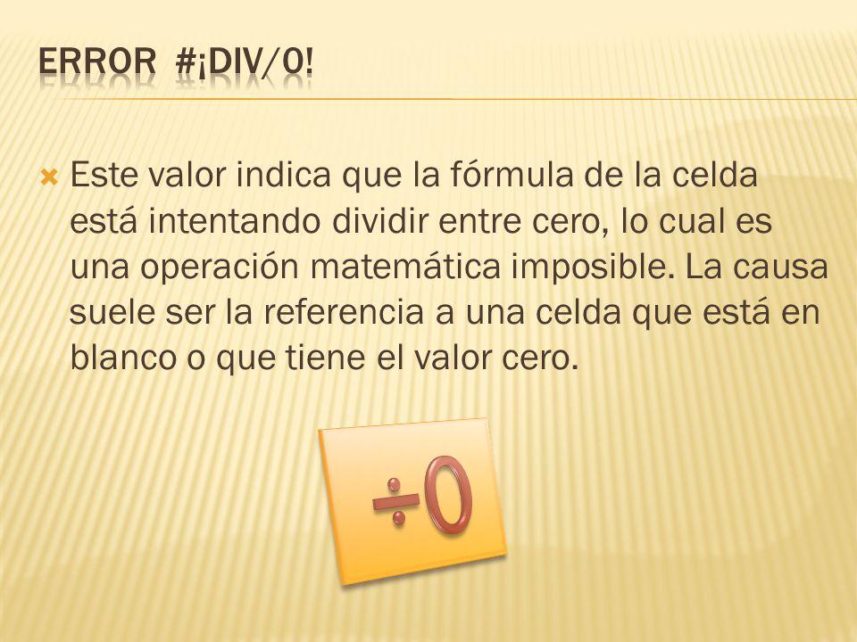 ERROR #¡DIV/0!