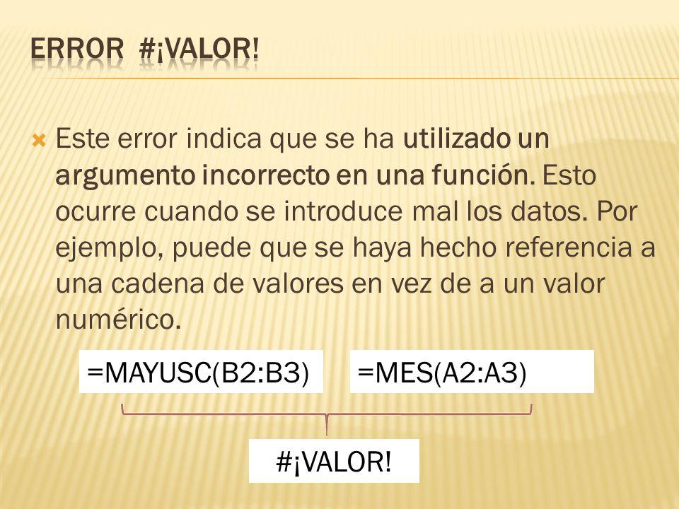 Error #¡VALOR!