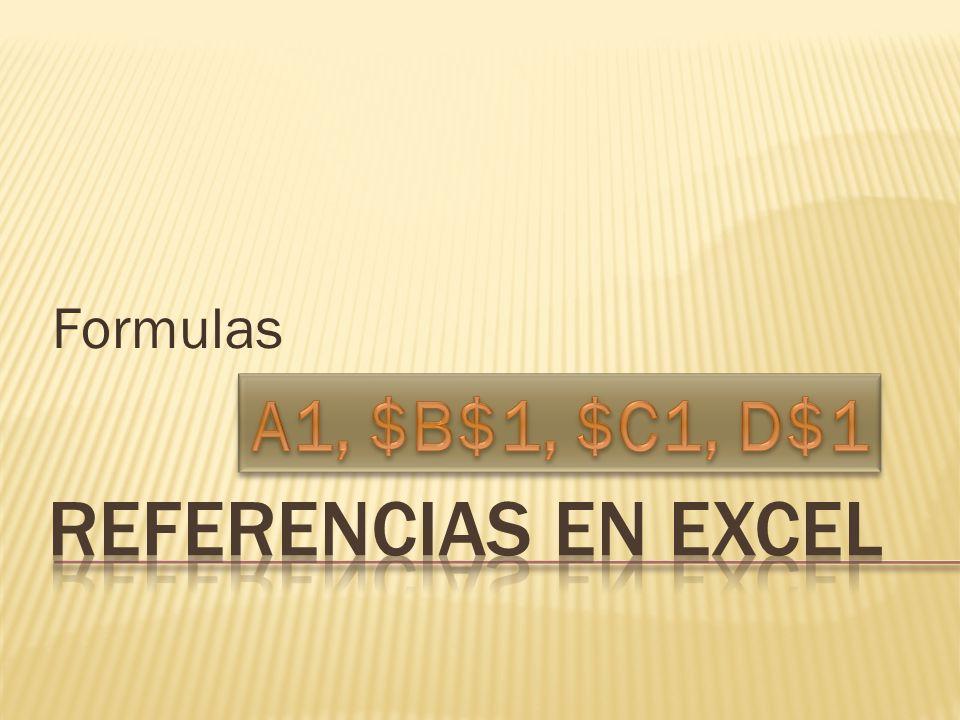 Formulas A1, $B$1, $C1, D$1 referencias en Excel