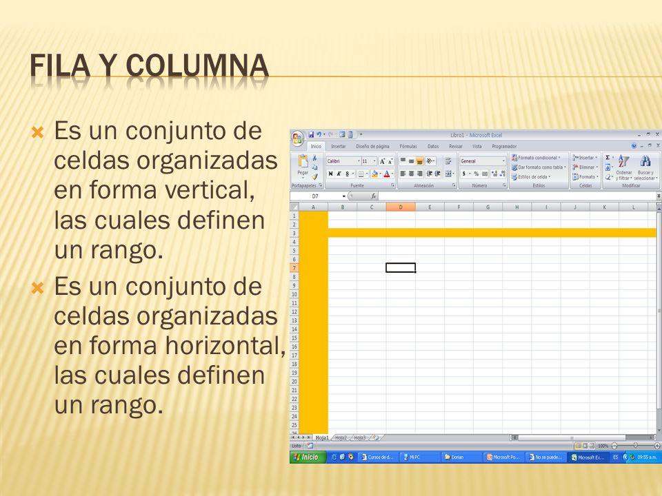 FILA y Columna Es un conjunto de celdas organizadas en forma vertical, las cuales definen un rango.