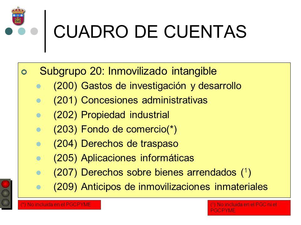 CUADRO DE CUENTAS Subgrupo 20: Inmovilizado intangible