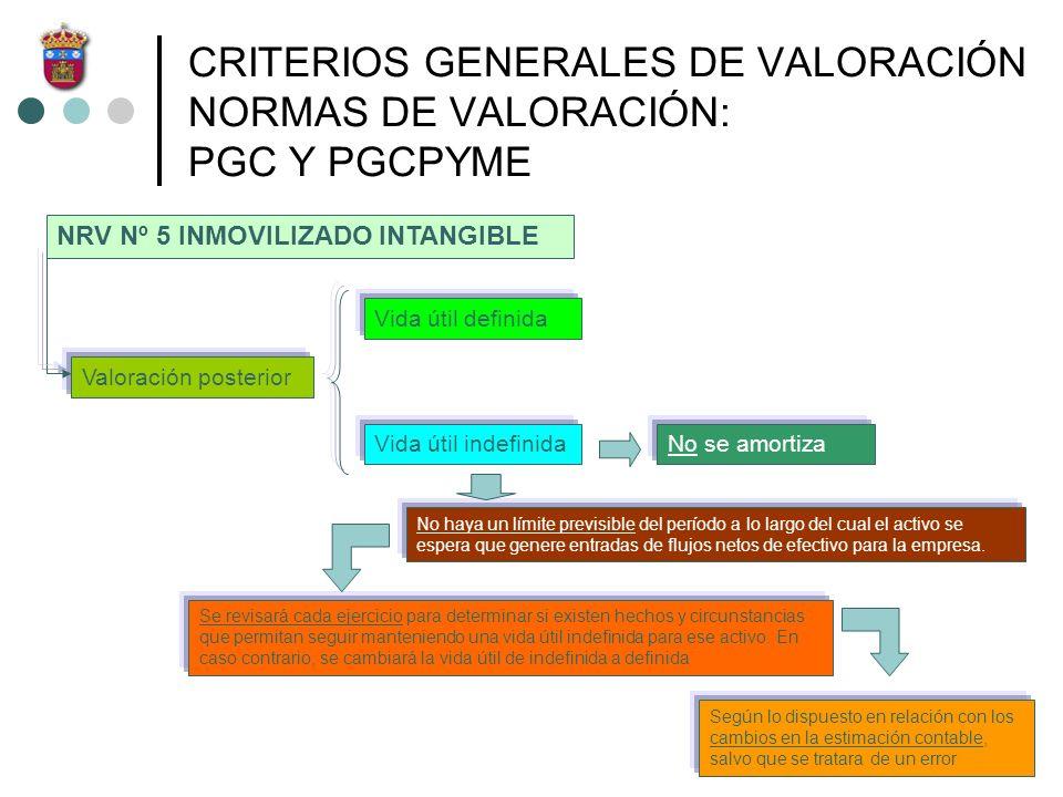 CRITERIOS GENERALES DE VALORACIÓN NORMAS DE VALORACIÓN: PGC Y PGCPYME