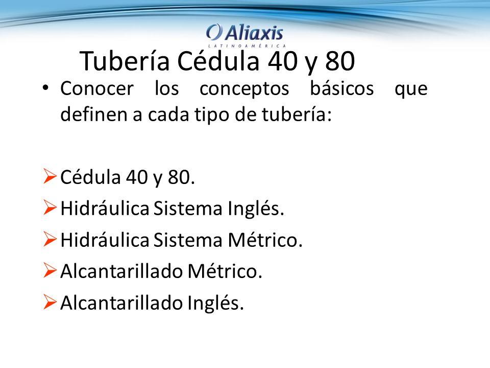 Tubería Cédula 40 y 80 Conocer los conceptos básicos que definen a cada tipo de tubería: Cédula 40 y 80.