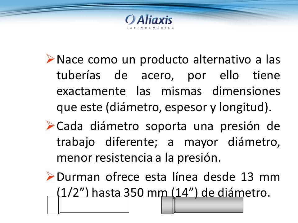 Nace como un producto alternativo a las tuberías de acero, por ello tiene exactamente las mismas dimensiones que este (diámetro, espesor y longitud).