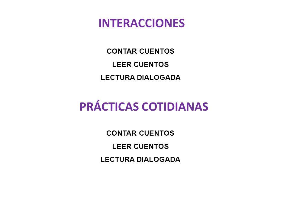 INTERACCIONES PRÁCTICAS COTIDIANAS CONTAR CUENTOS LEER CUENTOS