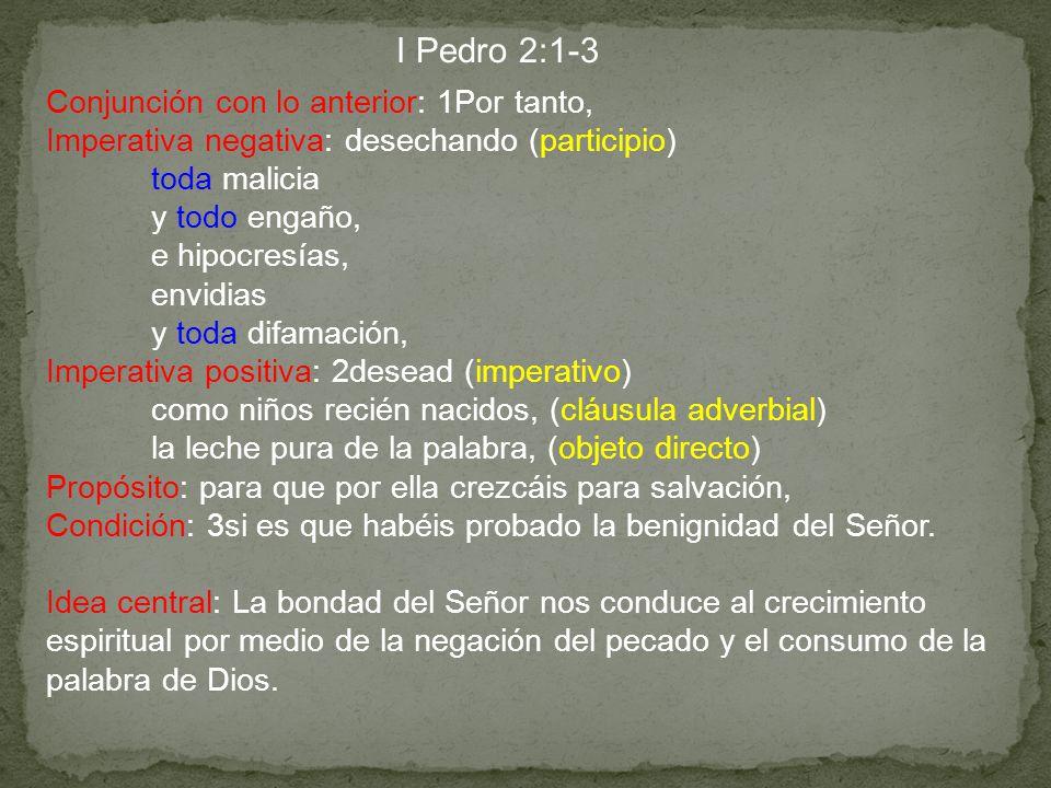 I Pedro 2:1-3 Conjunción con lo anterior: 1Por tanto,