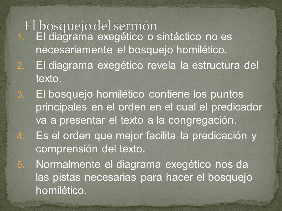 El bosquejo del sermón El diagrama exegético o sintáctico no es necesariamente el bosquejo homilético.