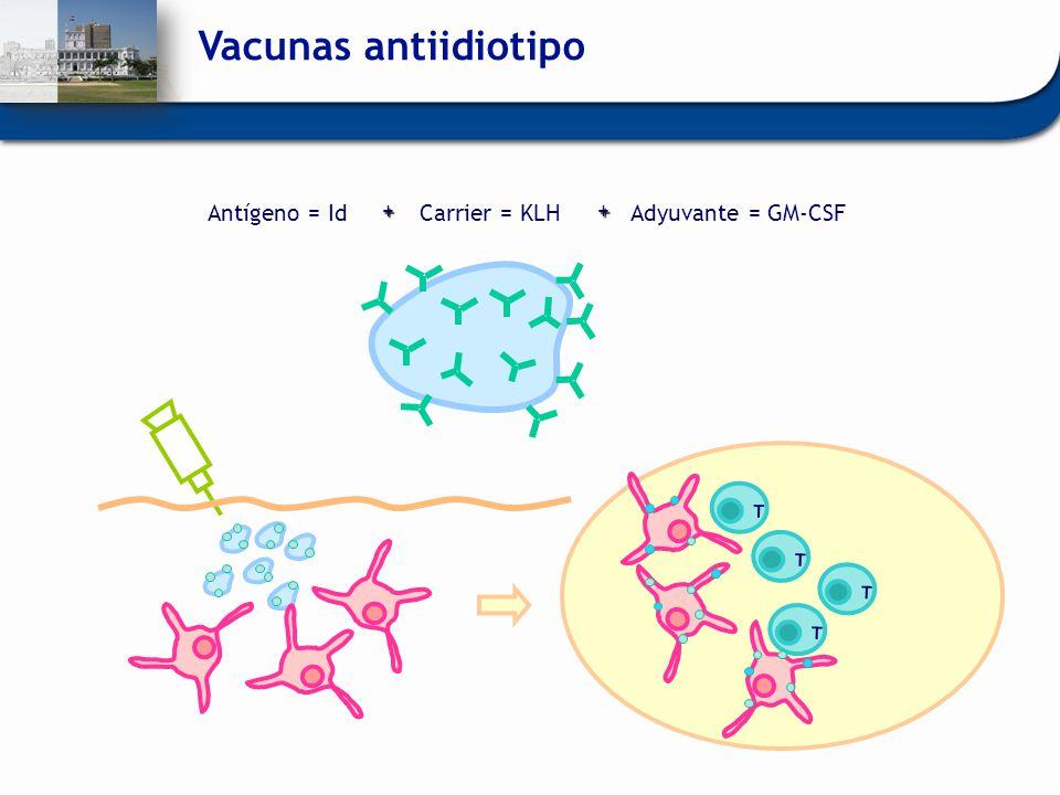 Vacunas antiidiotipo Carrier = KLH + Adyuvante = GM-CSF Antígeno = Id