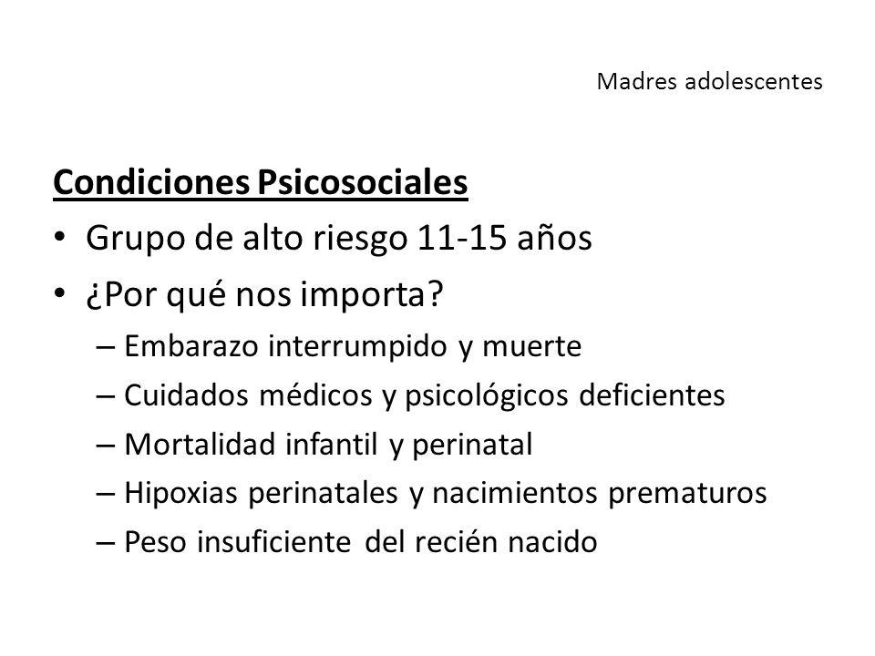 Condiciones Psicosociales Grupo de alto riesgo 11-15 años
