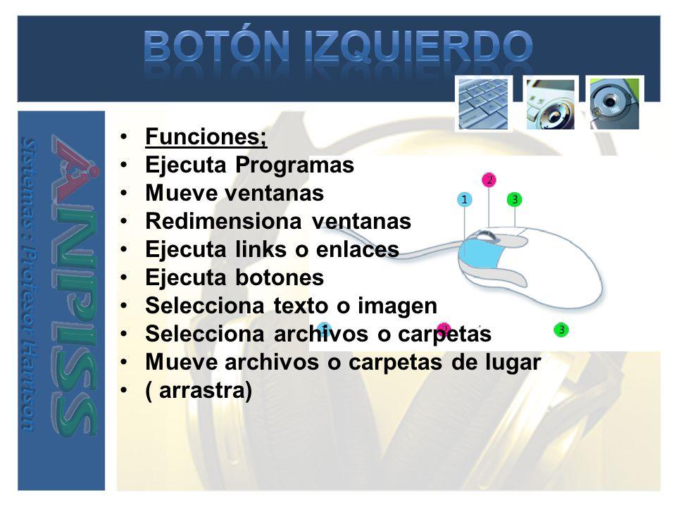 BOTÓN IZQUIERDO Funciones; Ejecuta Programas Mueve ventanas