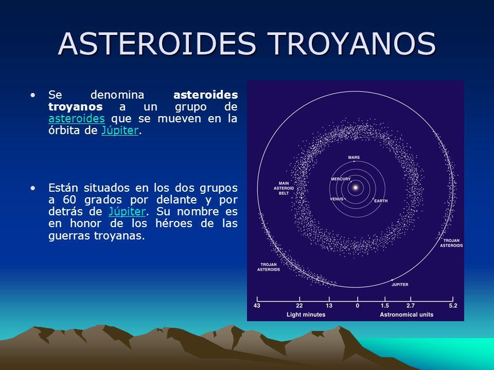 ASTEROIDES TROYANOS Se denomina asteroides troyanos a un grupo de asteroides que se mueven en la órbita de Júpiter.