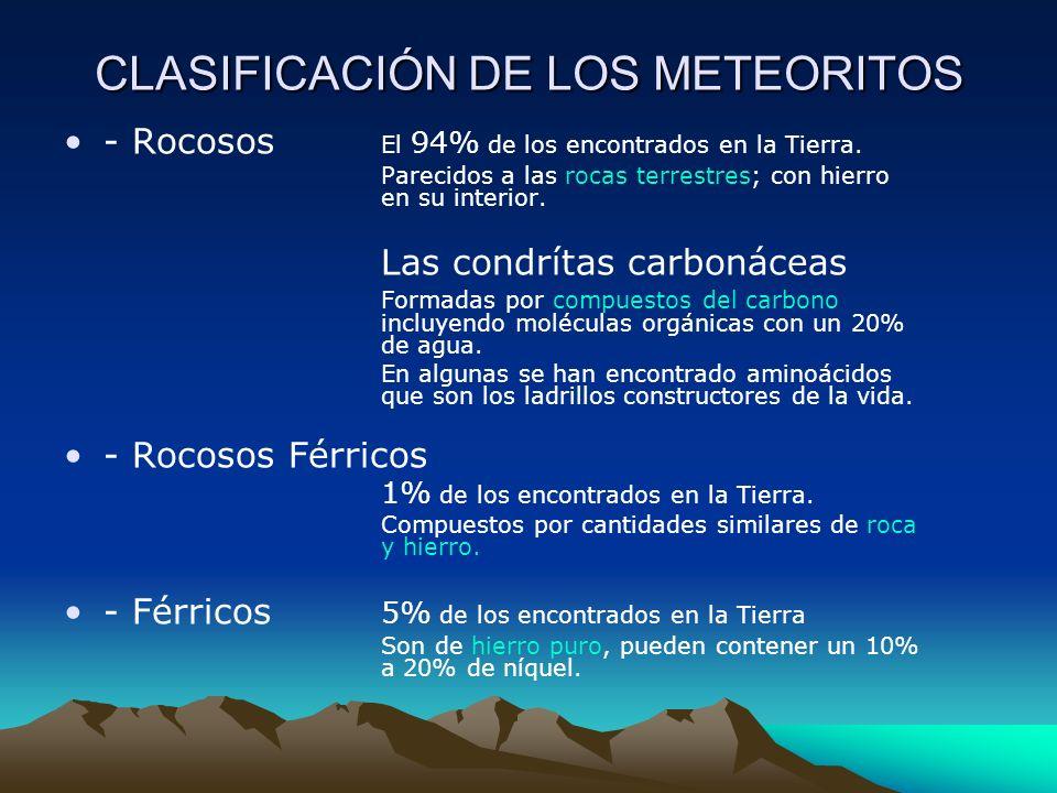 CLASIFICACIÓN DE LOS METEORITOS