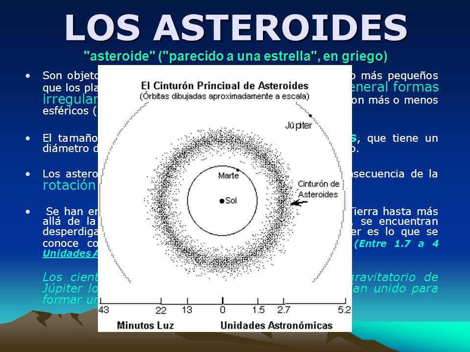 LOS ASTEROIDES asteroide ( parecido a una estrella , en griego)