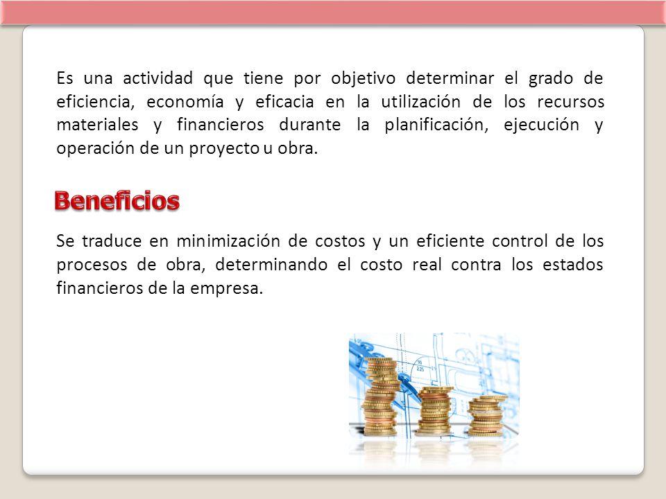 Es una actividad que tiene por objetivo determinar el grado de eficiencia, economía y eficacia en la utilización de los recursos materiales y financieros durante la planificación, ejecución y operación de un proyecto u obra.