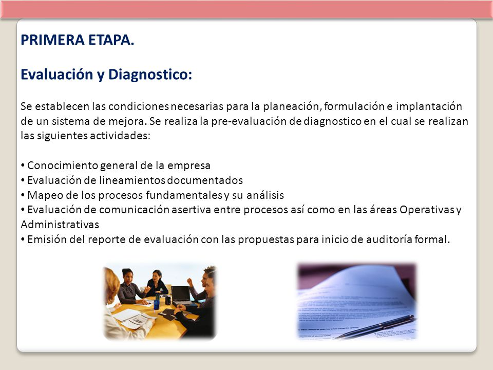 Evaluación y Diagnostico: