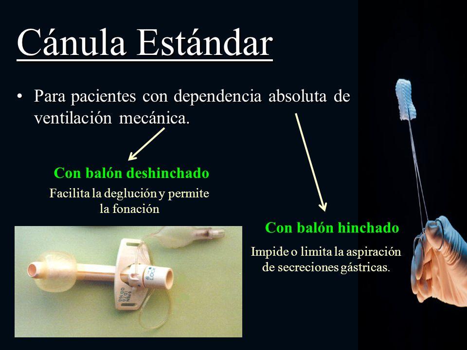Cánula Estándar Para pacientes con dependencia absoluta de ventilación mecánica. Con balón deshinchado.