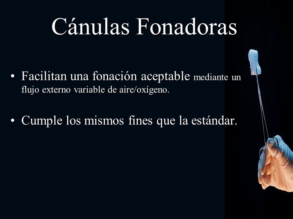 Cánulas FonadorasFacilitan una fonación aceptable mediante un flujo externo variable de aire/oxígeno.