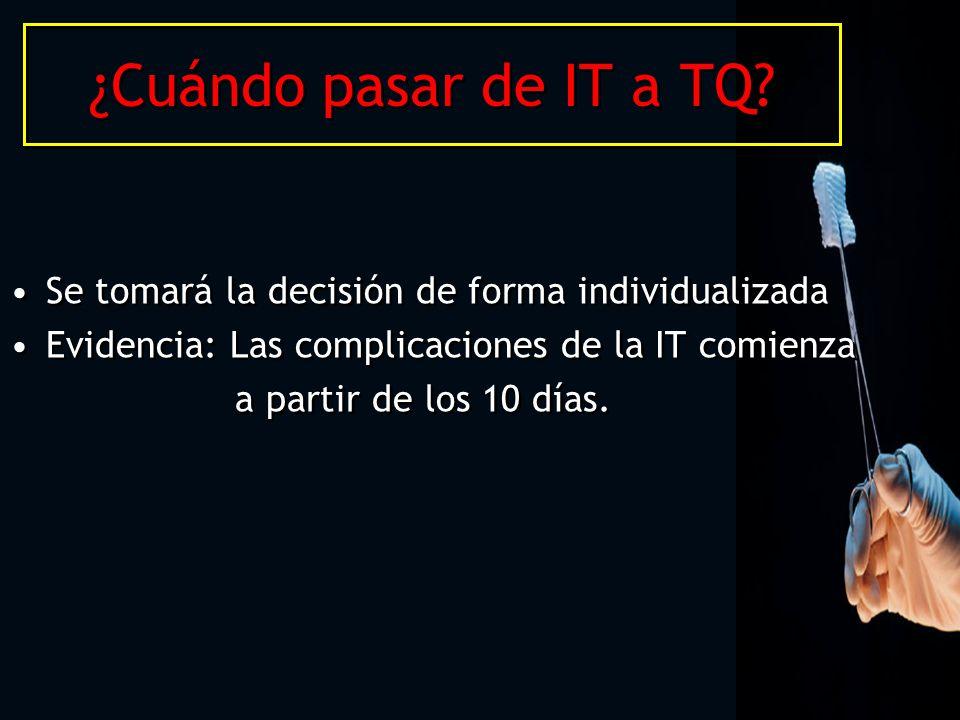 ¿Cuándo pasar de IT a TQ Se tomará la decisión de forma individualizada. Evidencia: Las complicaciones de la IT comienza.
