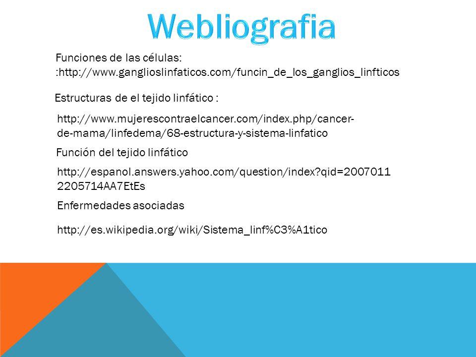 Webliografia Funciones de las células: :http://www.ganglioslinfaticos.com/funcin_de_los_ganglios_linfticos.