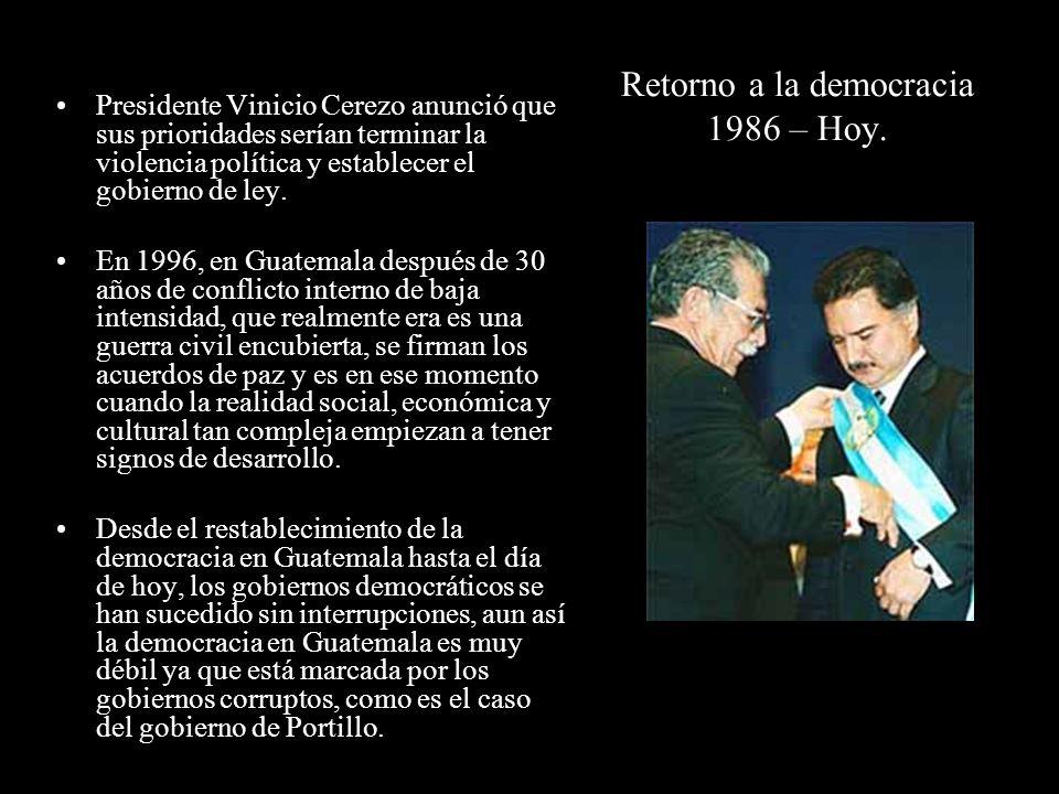 Retorno a la democracia 1986 – Hoy.